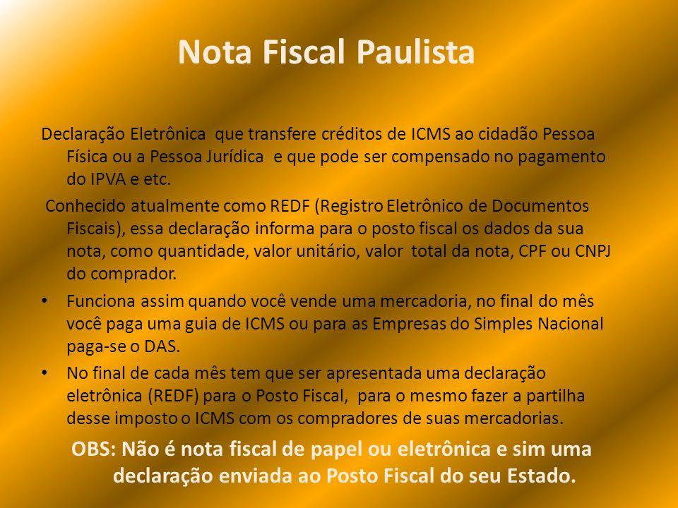 Declaração Eletrônica que transfere créditos de ICMS ao cidadão Pessoa Física ou a Pessoa Jurídica e que pode ser compensado no pagamento do IPVA e et
