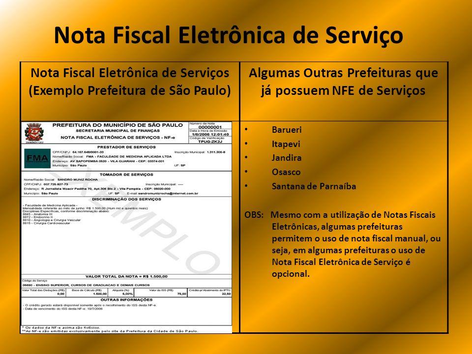 Nota Fiscal Eletrônica de Serviço Nota Fiscal Eletrônica de Serviços (Exemplo Prefeitura de São Paulo) Algumas Outras Prefeituras que já possuem NFE d