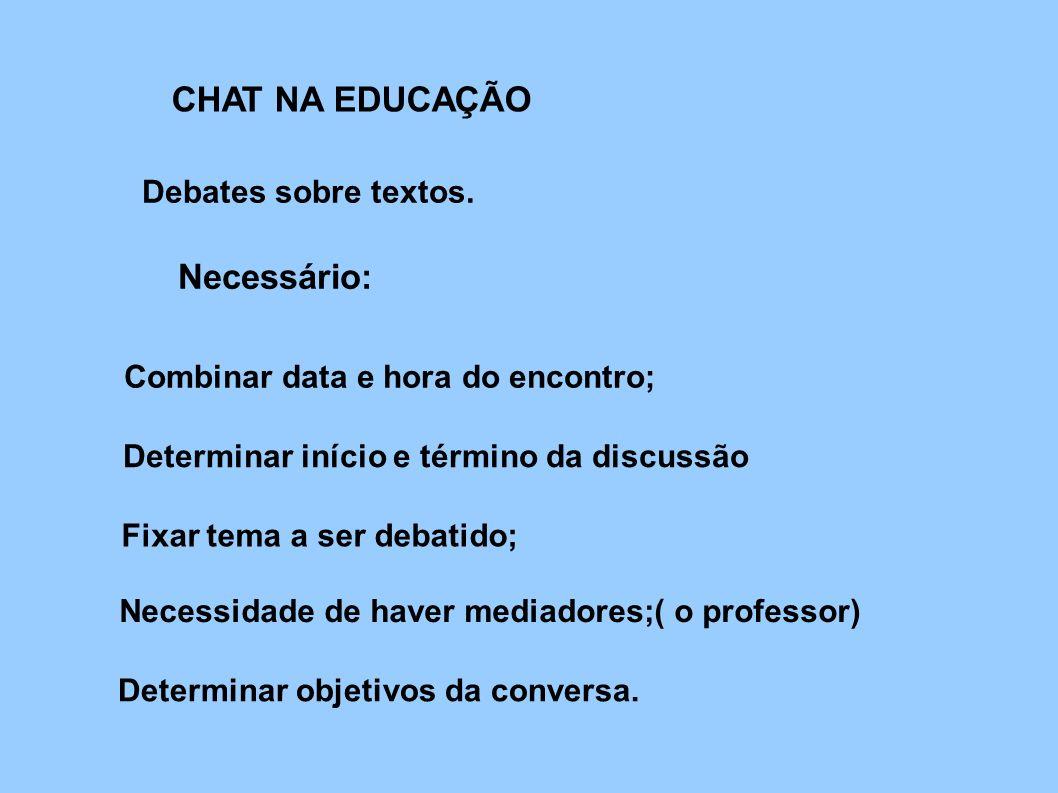 CHAT NA EDUCAÇÃO Debates sobre textos. Necessário: Combinar data e hora do encontro; Determinar início e término da discussão Fixar tema a ser debatid