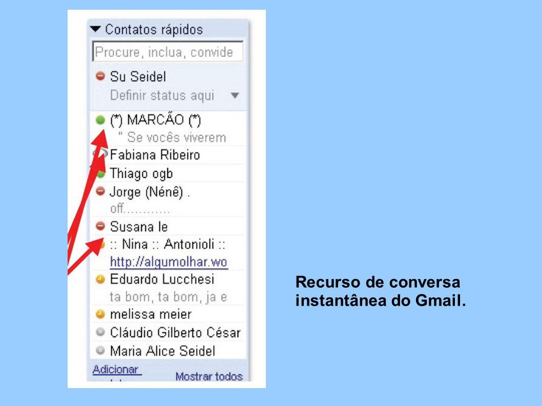 Recurso de conversa instantânea do Gmail.
