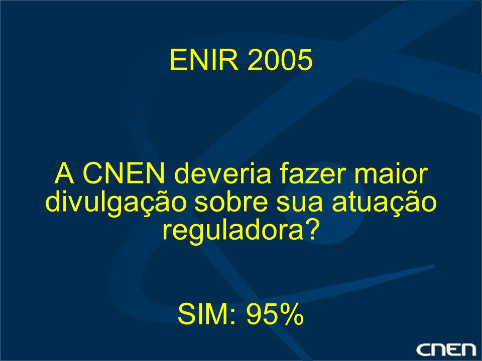ENIR 2005 A CNEN deveria fazer maior divulgação sobre sua atuação reguladora SIM: 95%