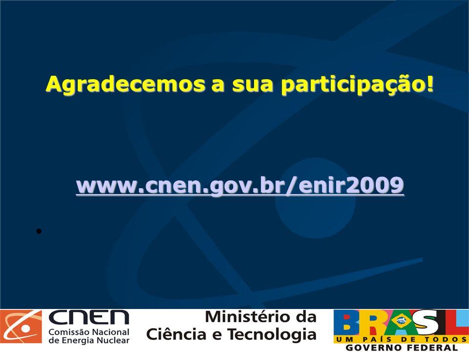 Agradecemos a sua participação! www.cnen.gov.br/enir2009 www.cnen.gov.br/enir2009