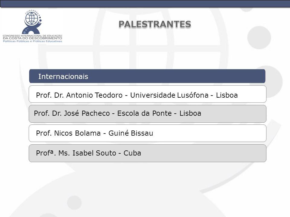 Internacionais Prof. Dr. Antonio Teodoro - Universidade Lusófona - Lisboa Prof. Dr. José Pacheco - Escola da Ponte - Lisboa Prof. Nicos Bolama - Guiné