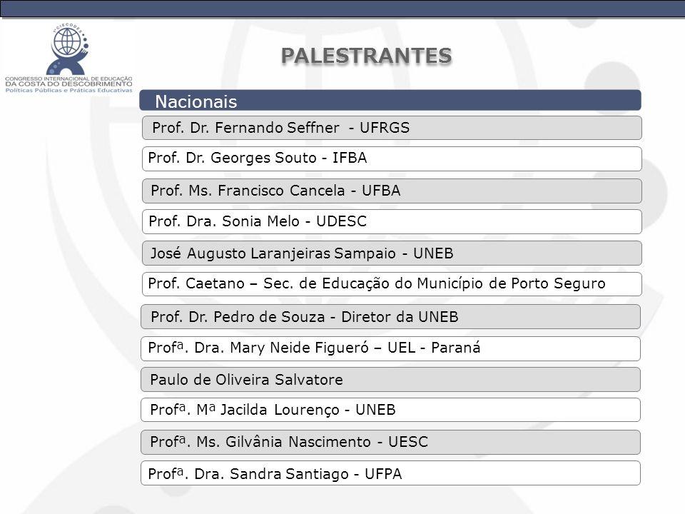 Nacionais Prof. Dr. Georges Souto - IFBA Prof. Dr. Fernando Seffner - UFRGS Prof. Dra. Sonia Melo - UDESC Prof. Ms. Francisco Cancela - UFBA Prof. Cae