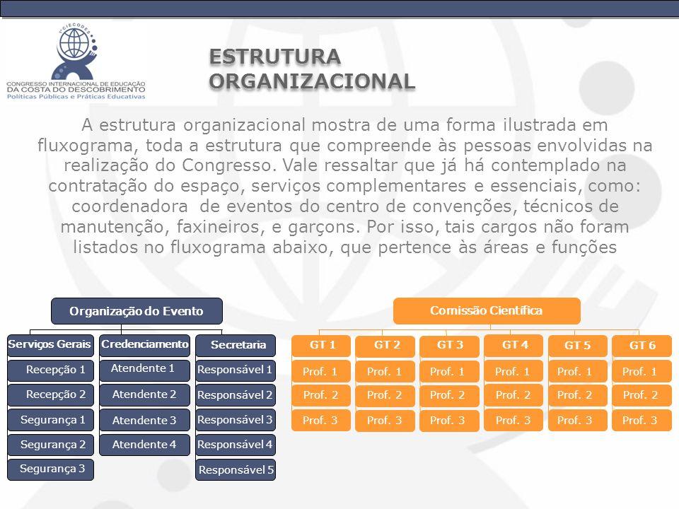 A estrutura organizacional mostra de uma forma ilustrada em fluxograma, toda a estrutura que compreende às pessoas envolvidas na realização do Congres