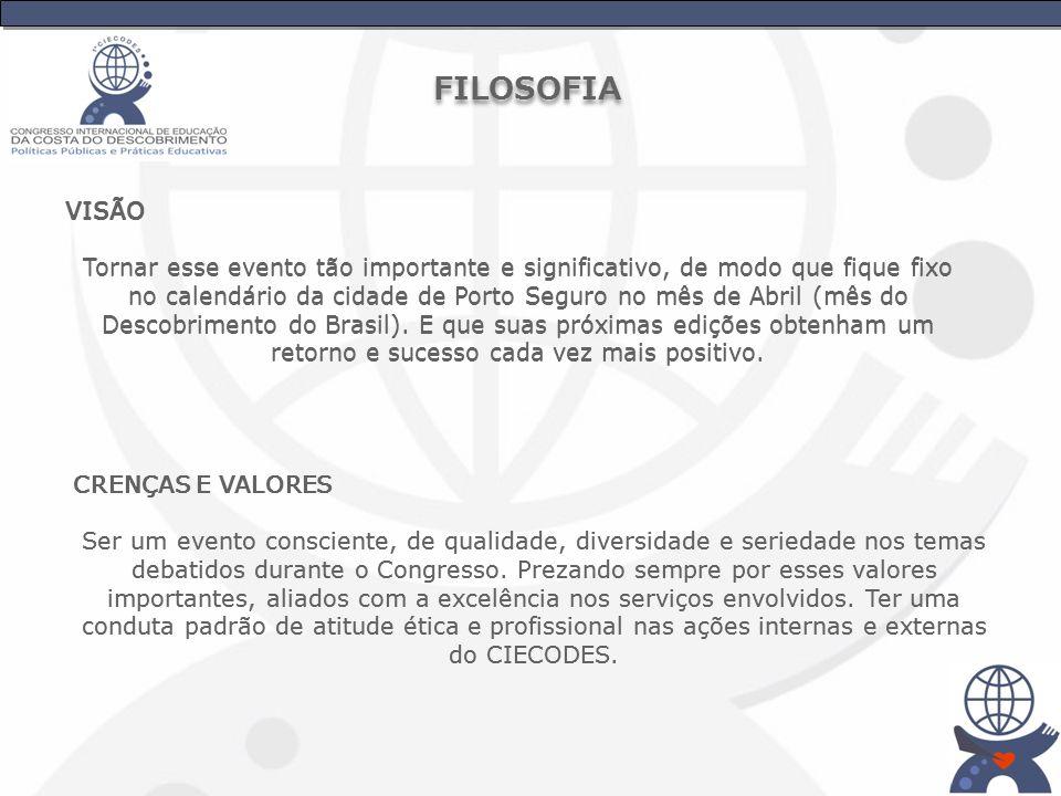 VISÃO Tornar esse evento tão importante e significativo, de modo que fique fixo no calendário da cidade de Porto Seguro no mês de Abril (mês do Descob