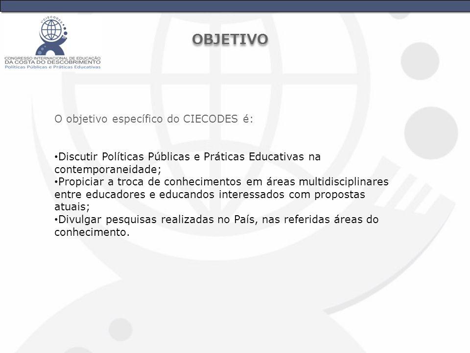 OBJETIVO O objetivo específico do CIECODES é: Discutir Políticas Públicas e Práticas Educativas na contemporaneidade; Propiciar a troca de conheciment