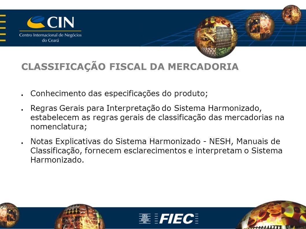 CLASSIFICAÇÃO FISCAL DA MERCADORIA Conhecimento das especificações do produto; Regras Gerais para Interpretação do Sistema Harmonizado, estabelecem as