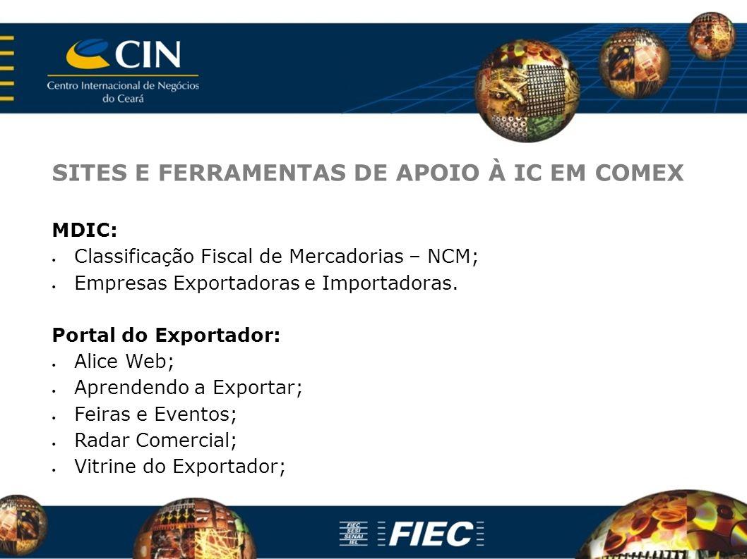 SITES E FERRAMENTAS DE APOIO À IC EM COMEX MDIC: Classificação Fiscal de Mercadorias – NCM; Empresas Exportadoras e Importadoras. Portal do Exportador