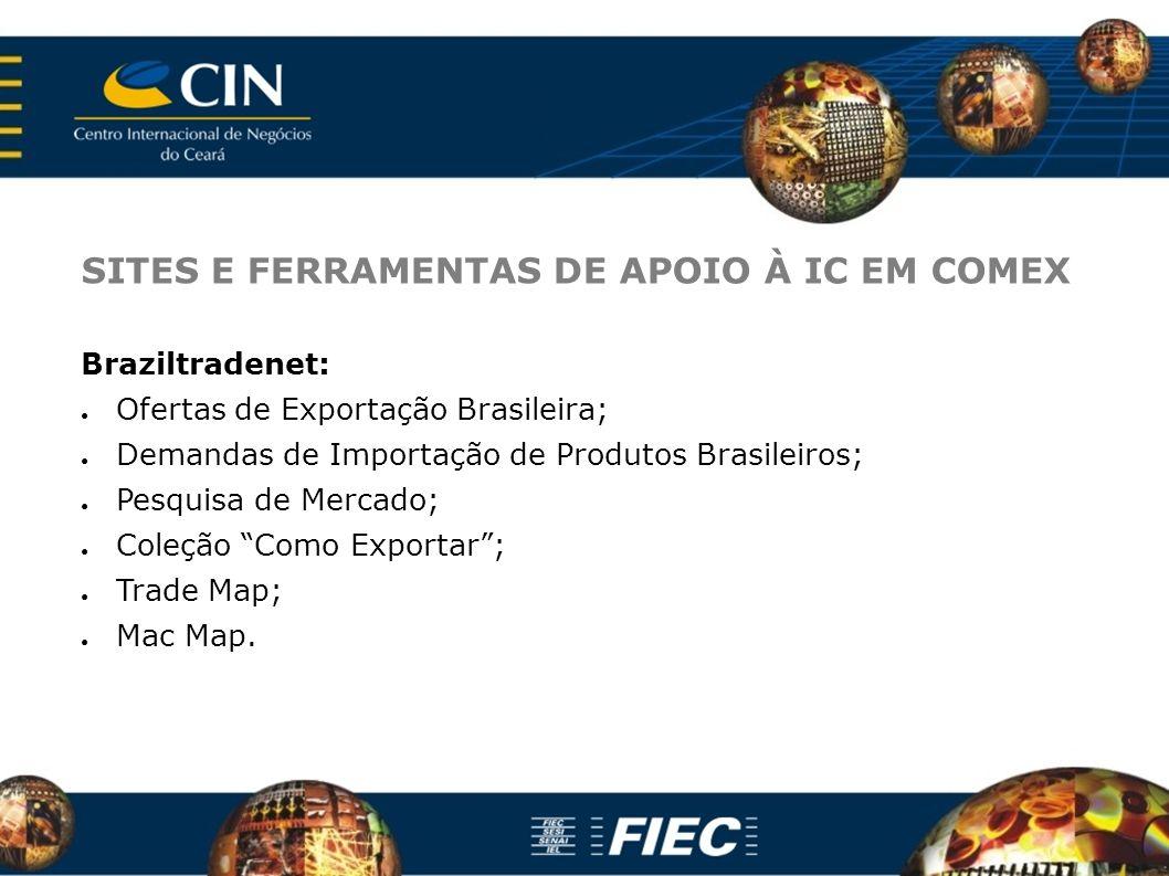 SITES E FERRAMENTAS DE APOIO À IC EM COMEX Braziltradenet: Ofertas de Exportação Brasileira; Demandas de Importação de Produtos Brasileiros; Pesquisa de Mercado; Coleção Como Exportar; Trade Map; Mac Map.