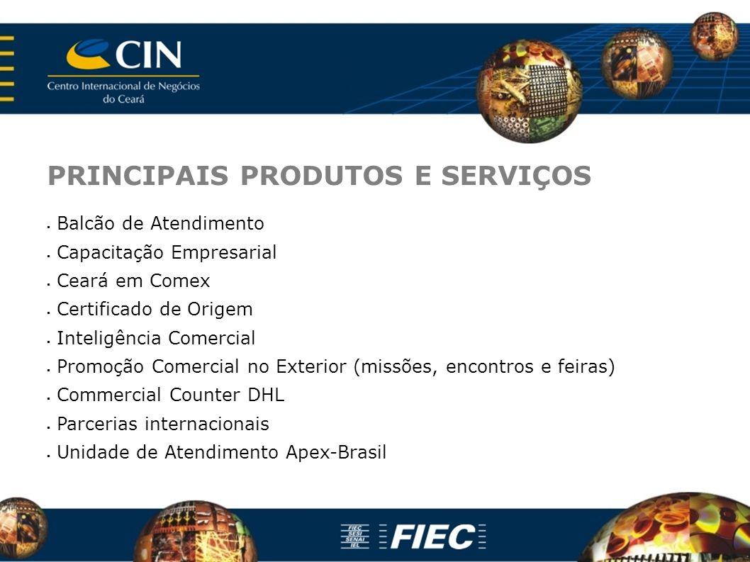 PRINCIPAIS PRODUTOS E SERVIÇOS Balcão de Atendimento Capacitação Empresarial Ceará em Comex Certificado de Origem Inteligência Comercial Promoção Come