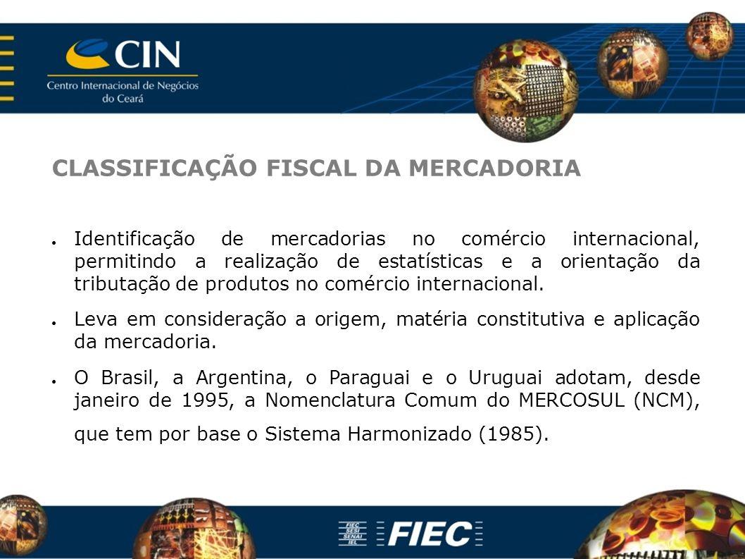 CLASSIFICAÇÃO FISCAL DA MERCADORIA Identificação de mercadorias no comércio internacional, permitindo a realização de estatísticas e a orientação da tributação de produtos no comércio internacional.