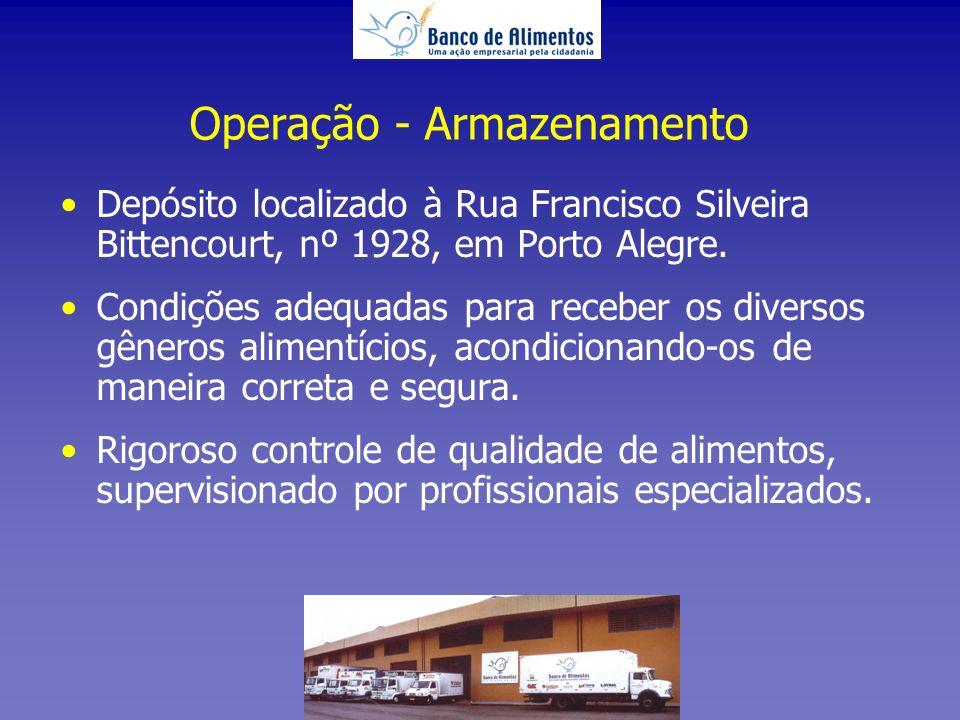 Operação - Armazenamento Depósito localizado à Rua Francisco Silveira Bittencourt, nº 1928, em Porto Alegre.