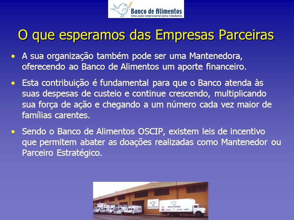 A sua organização também pode ser uma Mantenedora, oferecendo ao Banco de Alimentos um aporte financeiro.