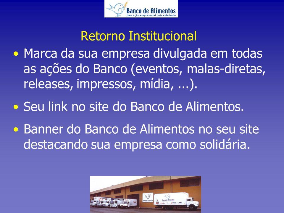 Retorno Institucional Marca da sua empresa divulgada em todas as ações do Banco (eventos, malas-diretas, releases, impressos, mídia,...).