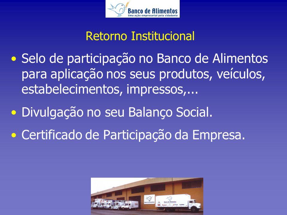 Retorno Institucional Selo de participação no Banco de Alimentos para aplicação nos seus produtos, veículos, estabelecimentos, impressos,...