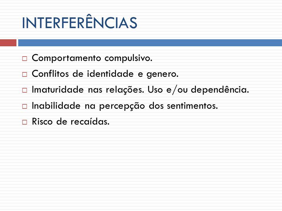 INTERFERÊNCIAS Comportamento compulsivo.Conflitos de identidade e genero.