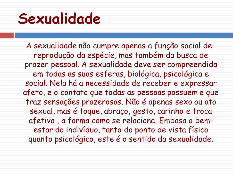 Sexualidade A sexualidade não cumpre apenas a função social de reprodução da espécie, mas também da busca de prazer pessoal.