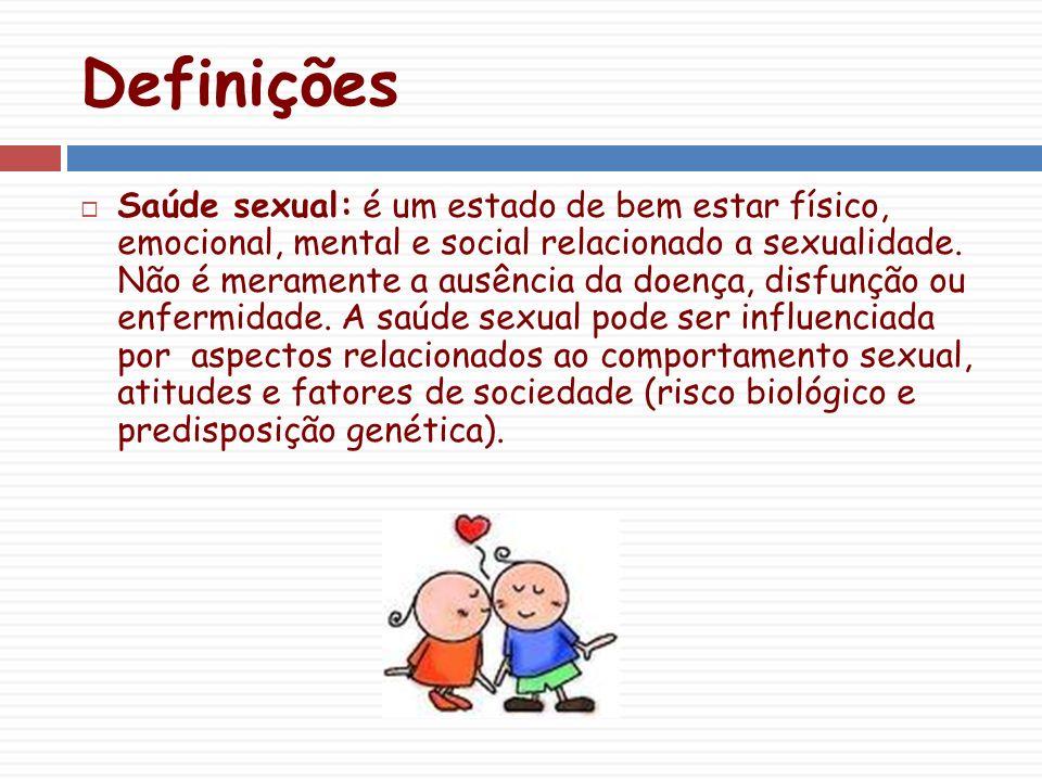 Definições Saúde sexual: é um estado de bem estar físico, emocional, mental e social relacionado a sexualidade.