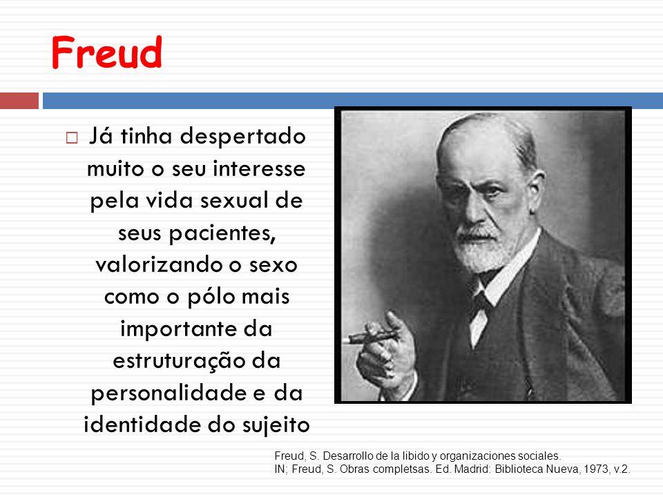 Freud Já tinha despertado muito o seu interesse pela vida sexual de seus pacientes, valorizando o sexo como o pólo mais importante da estruturação da personalidade e da identidade do sujeito Freud, S.