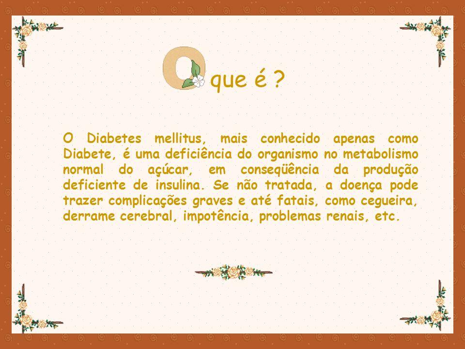Ter diabéticos na família Pouca atividade física Excesso de peso (Obesidade) redisposição