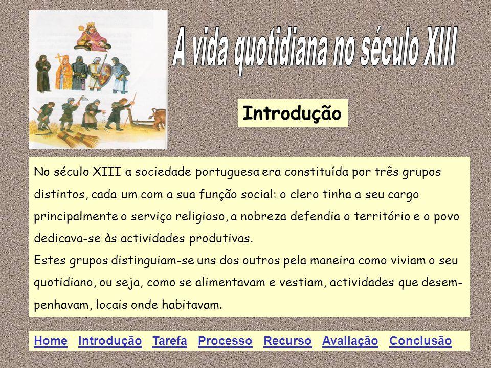 Introdução No século XIII a sociedade portuguesa era constituída por três grupos distintos, cada um com a sua função social: o clero tinha a seu cargo