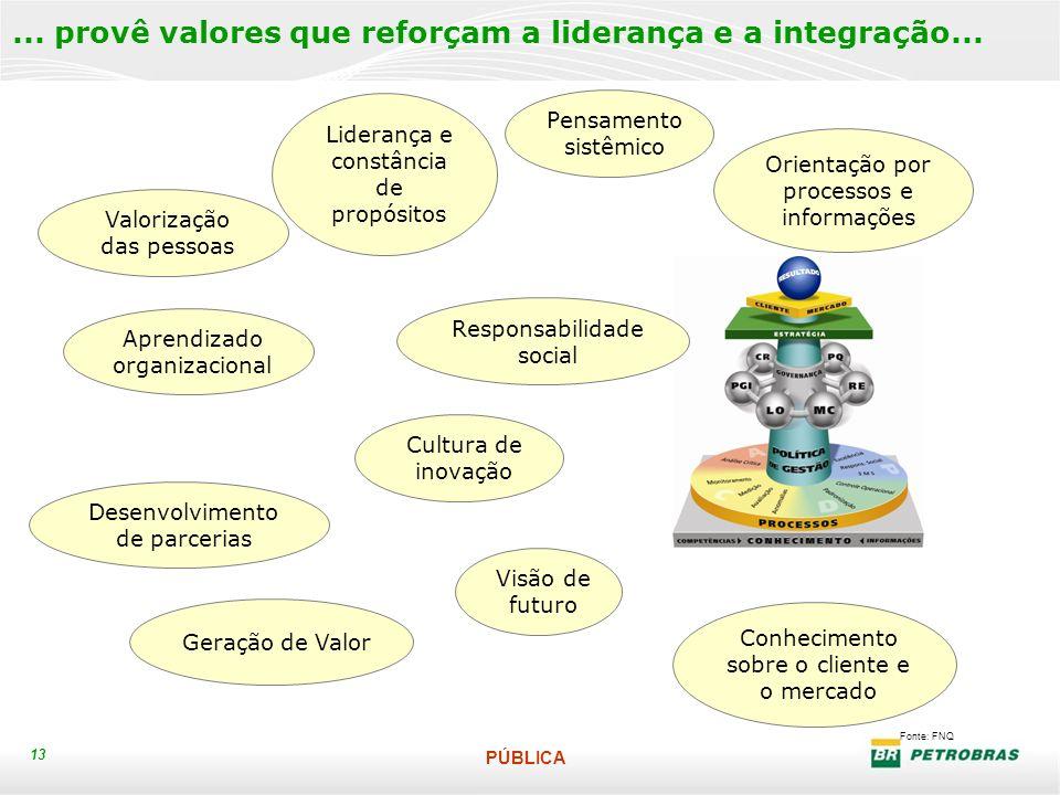 PÚBLICA 13 Fonte: FNQ... provê valores que reforçam a liderança e a integração... Aprendizado organizacional Pensamento sistêmico Liderança e constânc