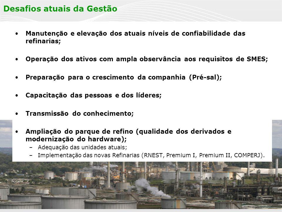 PÚBLICA 16 Desafios atuais da Gestão Manutenção e elevação dos atuais níveis de confiabilidade das refinarias; Operação dos ativos com ampla observânc
