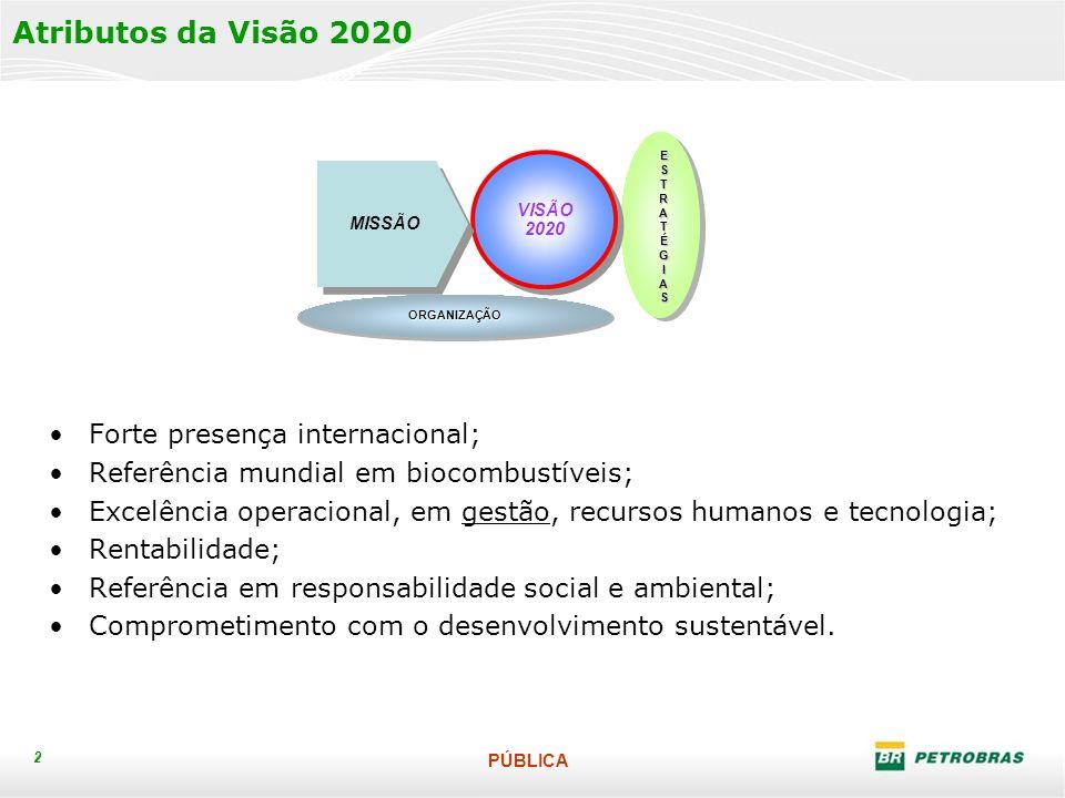 PÚBLICA 2 Atributos da Visão 2020 Forte presença internacional; Referência mundial em biocombustíveis; Excelência operacional, em gestão, recursos humanos e tecnologia; Rentabilidade; Referência em responsabilidade social e ambiental; Comprometimento com o desenvolvimento sustentável.