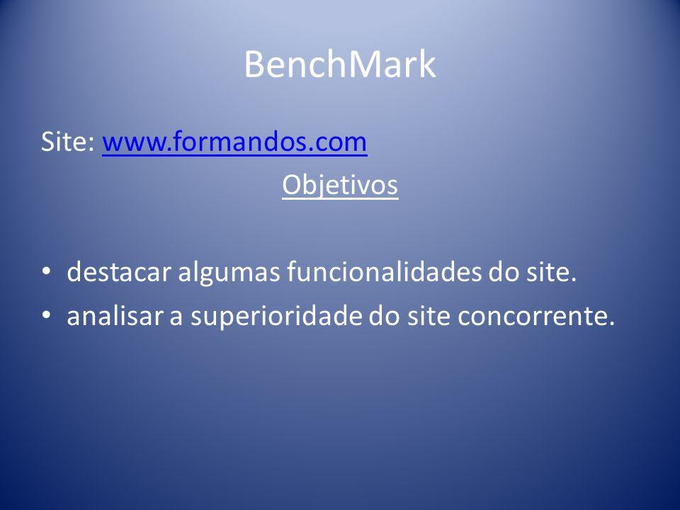 BenchMark Site: www.formandos.comwww.formandos.com Objetivos destacar algumas funcionalidades do site.