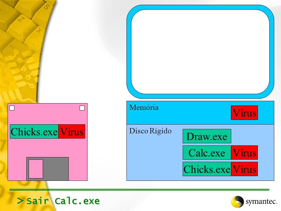 Rodar Calc.exe (Carrega na memória, executa) > Calc.exeVírus Draw.exe Calc.exe Memória Disco Rígido Chicks.exeVírus Chicks.exeVírus
