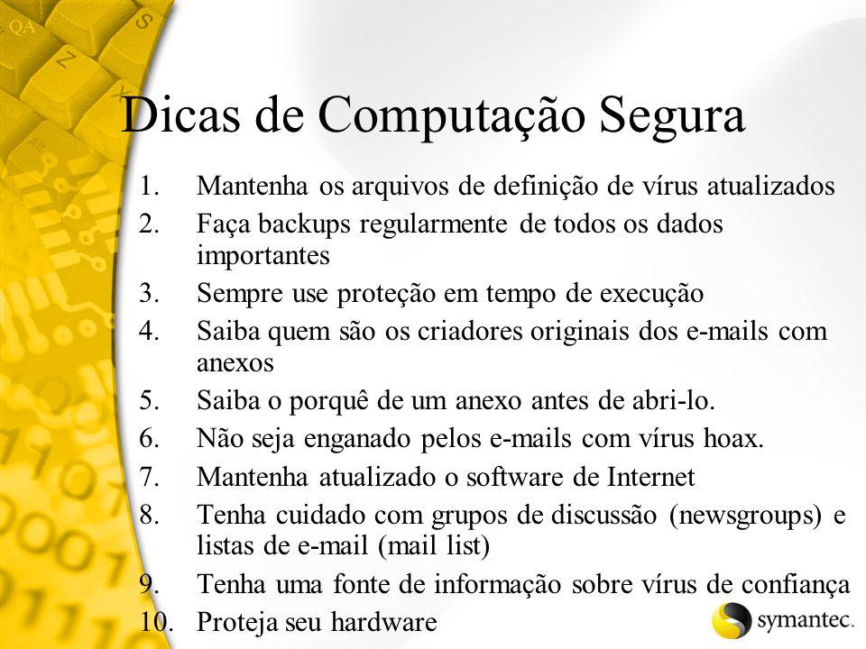 Informações sobre Vírus Web site do SARC http://www.sarc.com/ Enciclopédia de Vírus Material de referência Boletim mensal do SARC dicas
