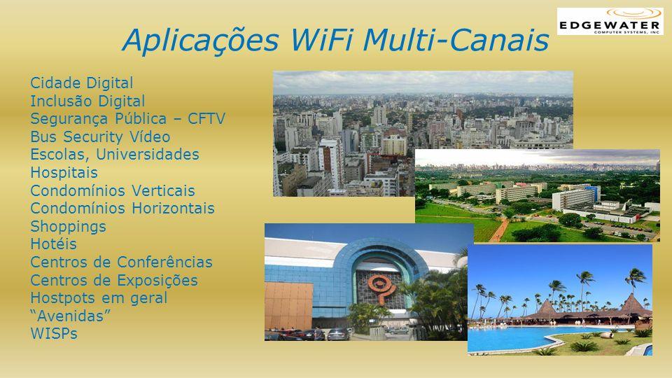 Aplicações WiFi Multi-Canais Cidade Digital Inclusão Digital Segurança Pública – CFTV Bus Security Vídeo Escolas, Universidades Hospitais Condomínios