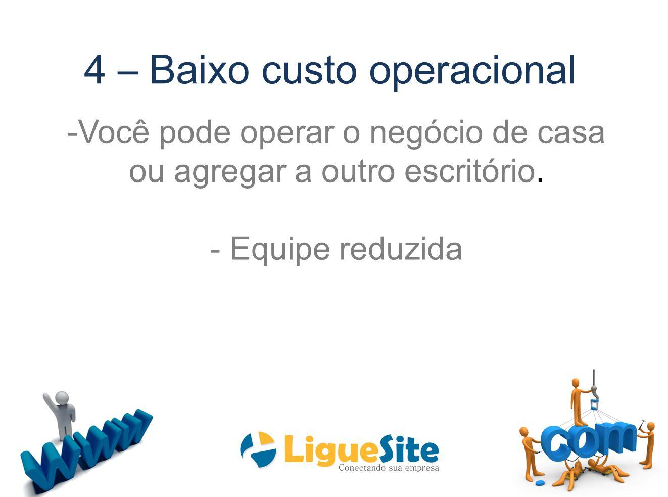 4 – Baixo custo operacional -Você pode operar o negócio de casa ou agregar a outro escritório. - Equipe reduzida