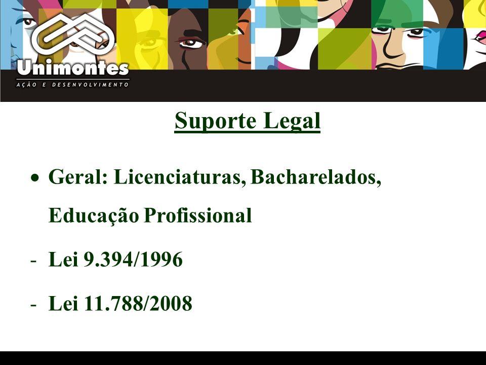 Licenciaturas observam ainda: -Parecer CP/CNE Nº 28/2001 -Parecer CP/CNE Nº 9/2001 -Resolução CP/CNE Nº 2/2002 -Parecer CEE/MG Nº 447/2002 -Resolução CEE/MG Nº 447/2002 Suporte Legal