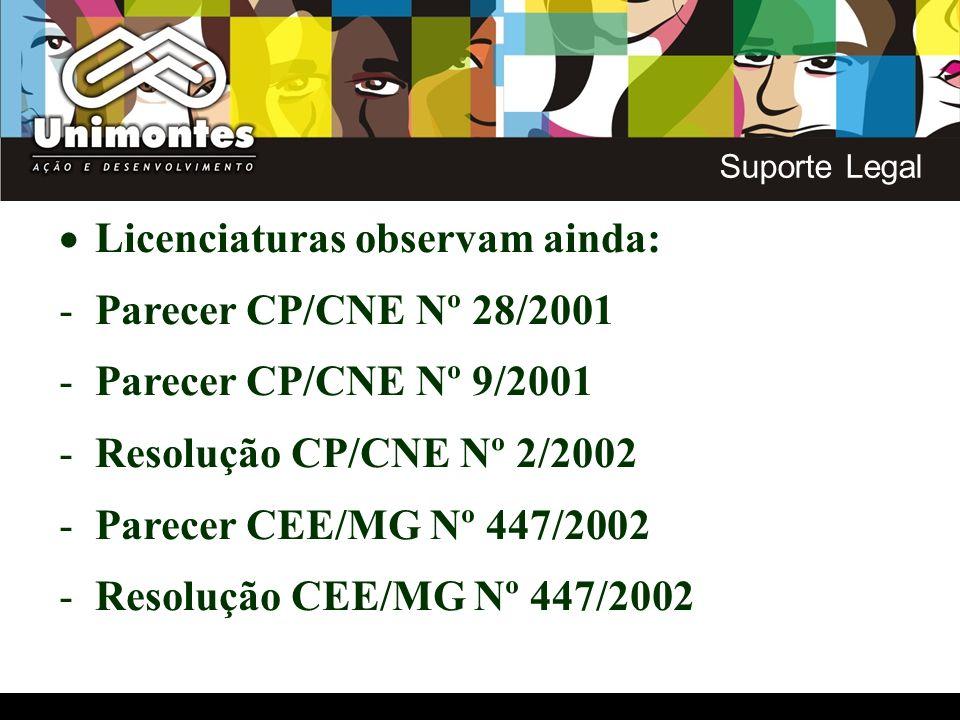 Licenciaturas observam ainda: -Parecer CP/CNE Nº 28/2001 -Parecer CP/CNE Nº 9/2001 -Resolução CP/CNE Nº 2/2002 -Parecer CEE/MG Nº 447/2002 -Resolução