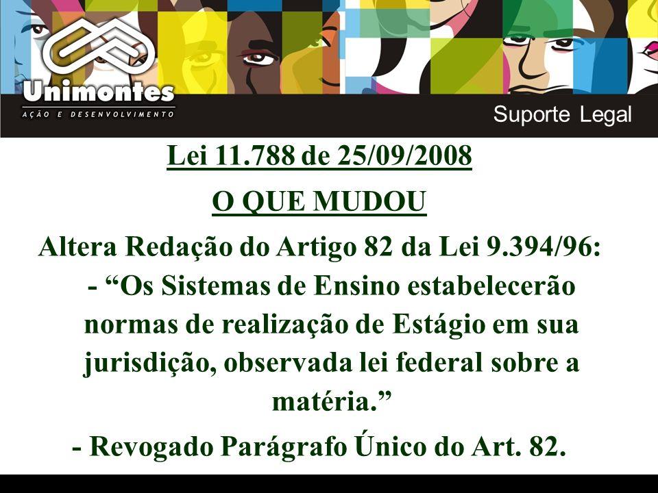 Lei 11.788 de 25/09/2008 O QUE MUDOU Altera Redação do Artigo 82 da Lei 9.394/96: - Os Sistemas de Ensino estabelecerão normas de realização de Estági