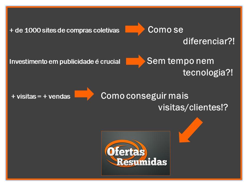 + de 1000 sites de compras coletivas Como se diferenciar?! Investimento em publicidade é crucial Sem tempo nem tecnologia?! + visitas = + vendas Como
