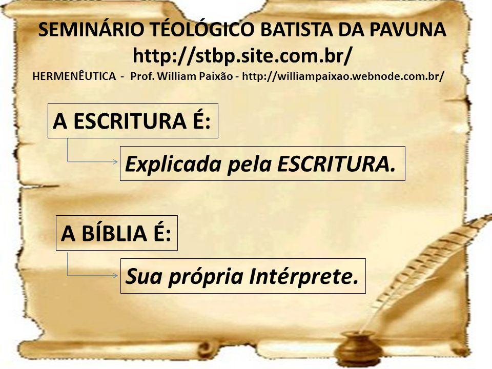 HERMENÊUTICA - Prof. William Paixão - http://williampaixao.webnode.com.br/ SEMINÁRIO TÉOLÓGICO BATISTA DA PAVUNA http://stbp.site.com.br/ A ESCRITURA