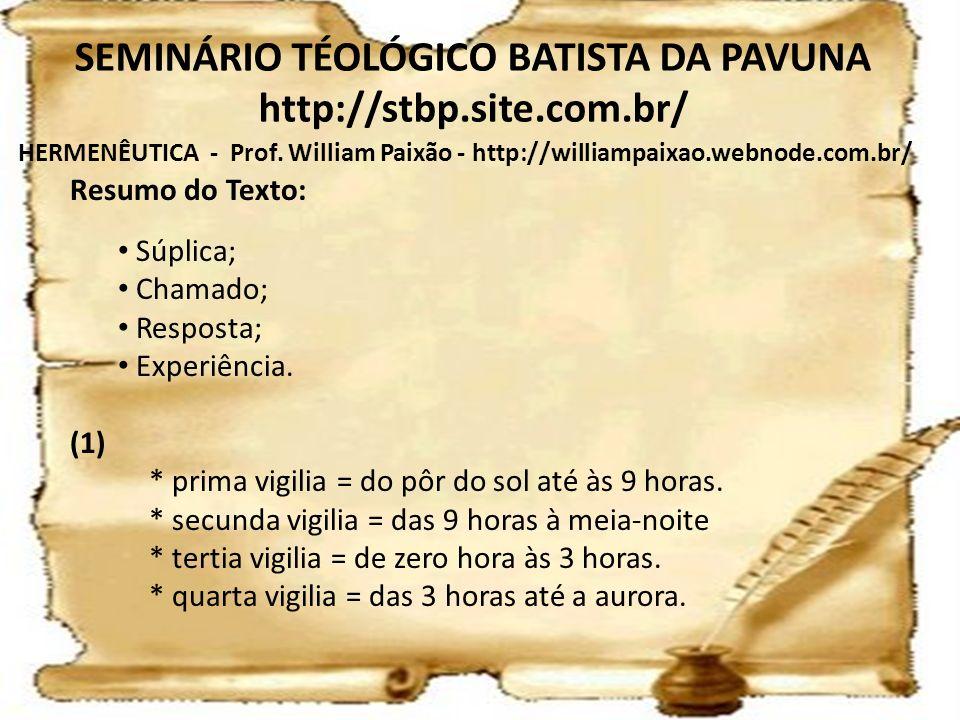 HERMENÊUTICA - Prof. William Paixão - http://williampaixao.webnode.com.br/ SEMINÁRIO TÉOLÓGICO BATISTA DA PAVUNA http://stbp.site.com.br/ Resumo do Te