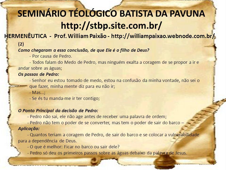 HERMENÊUTICA - Prof. William Paixão - http://williampaixao.webnode.com.br/ SEMINÁRIO TÉOLÓGICO BATISTA DA PAVUNA http://stbp.site.com.br/ (2) Como che