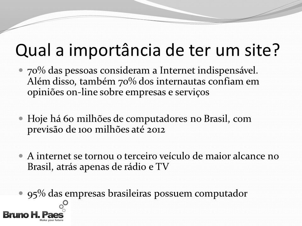 Qual a importância de ter um site? 70% das pessoas consideram a Internet indispensável. Além disso, também 70% dos internautas confiam em opiniões on-