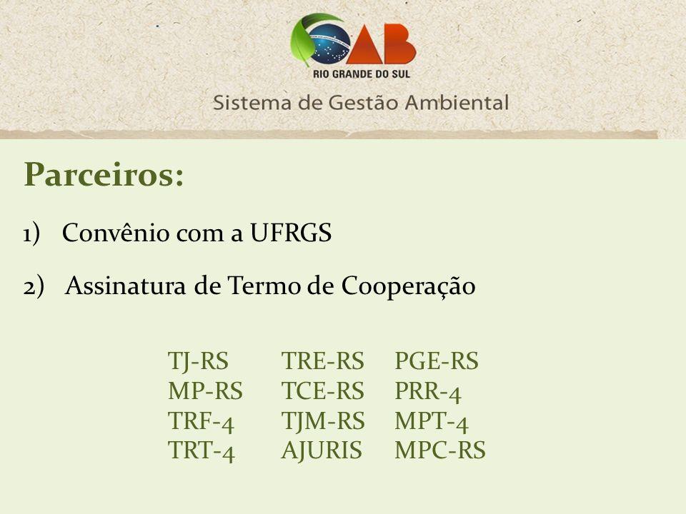 Parceiros: 1)Convênio com a UFRGS 2) Assinatura de Termo de Cooperação TJ-RS MP-RS TRF-4 TRT-4 TRE-RS TCE-RS TJM-RS AJURIS PGE-RS PRR-4 MPT-4 MPC-RS