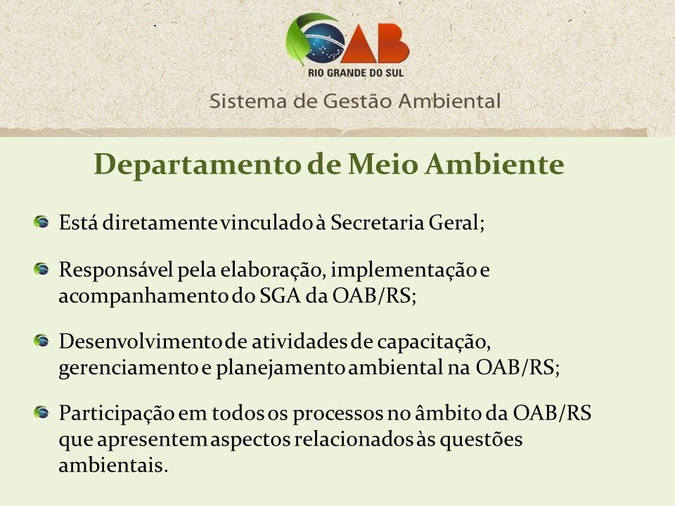 Está diretamente vinculado à Secretaria Geral; Responsável pela elaboração, implementação e acompanhamento do SGA da OAB/RS; Desenvolvimento de ativid