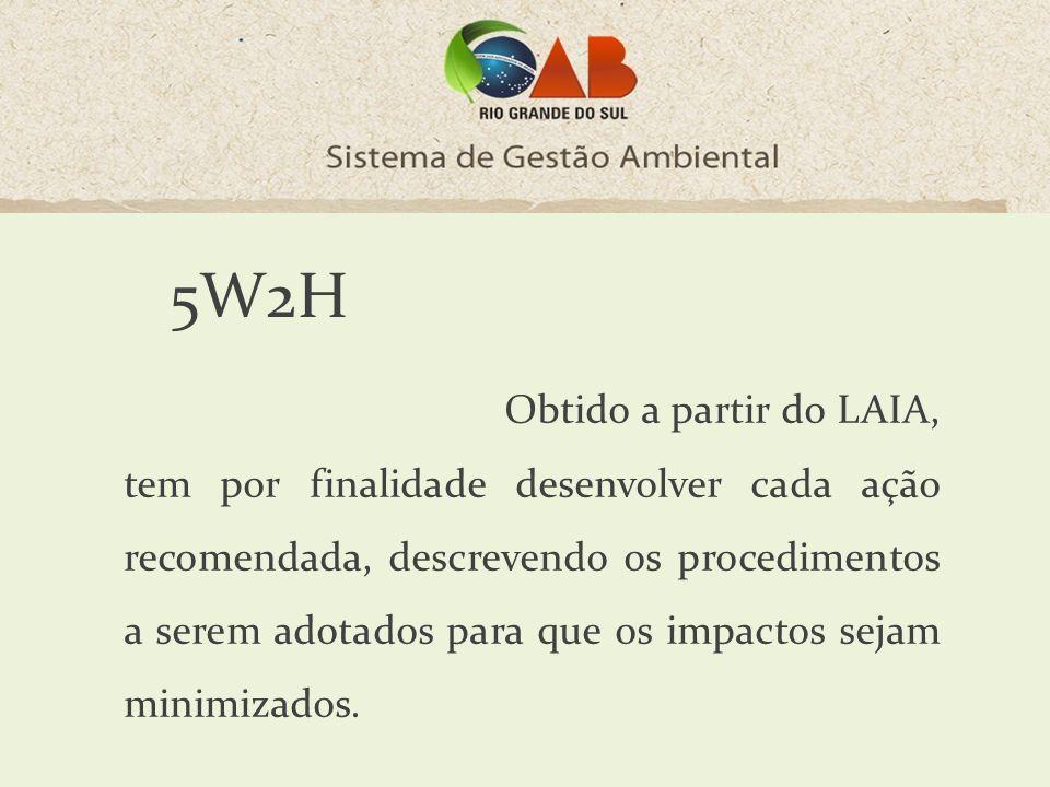 5W2H Obtido a partir do LAIA, tem por finalidade desenvolver cada ação recomendada, descrevendo os procedimentos a serem adotados para que os impactos