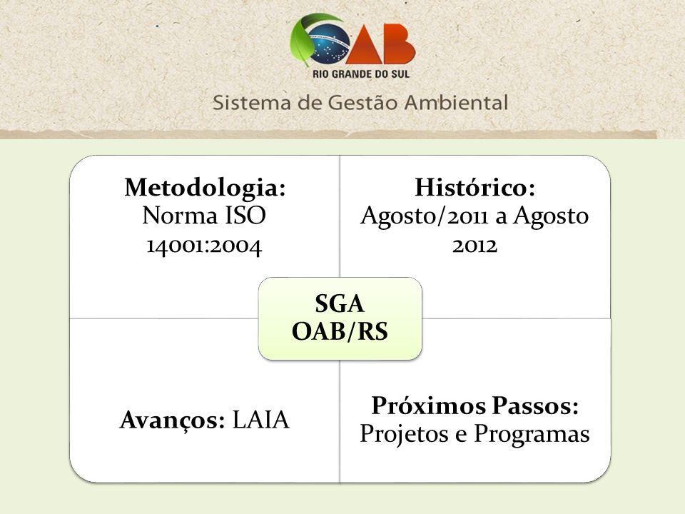2011 Agosto A Comissão de Direito Ambiental assume o compromisso de criar um Sistema de Gestão Ambiental para a OAB/RS.