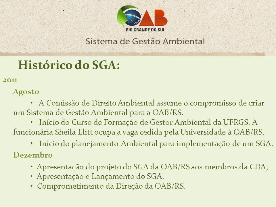 2011 Agosto A Comissão de Direito Ambiental assume o compromisso de criar um Sistema de Gestão Ambiental para a OAB/RS. Início do Curso de Formação de