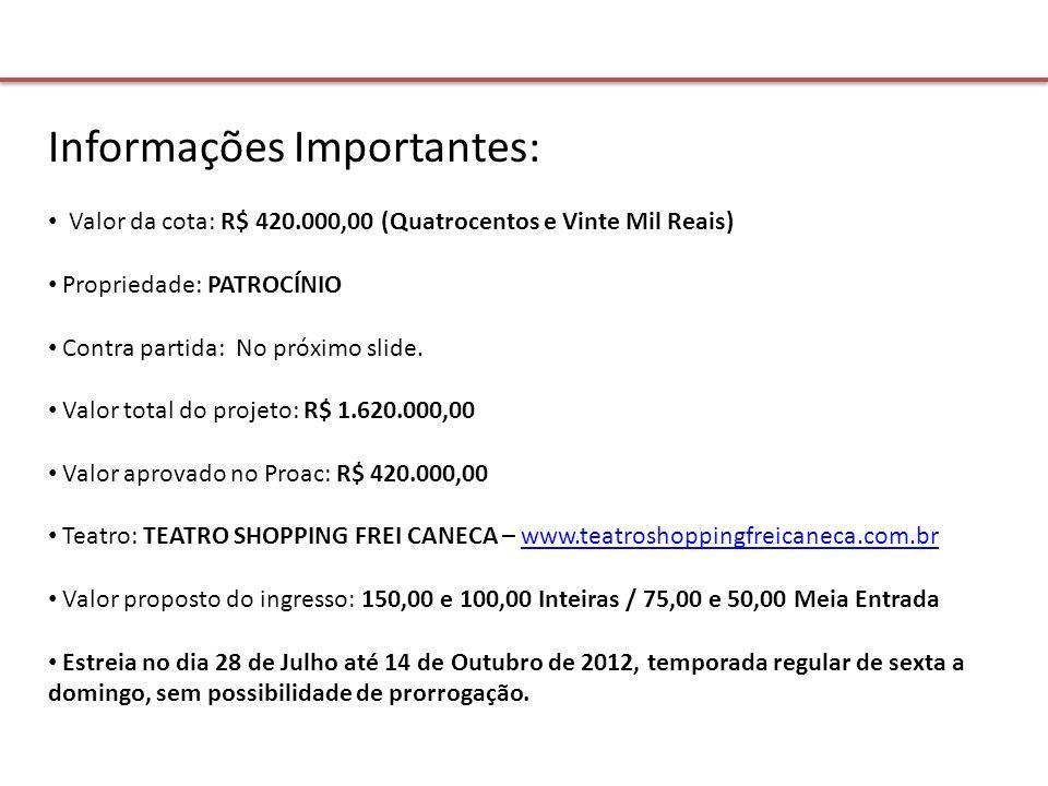 Informações Importantes: Valor da cota: R$ 420.000,00 (Quatrocentos e Vinte Mil Reais) Propriedade: PATROCÍNIO Contra partida: No próximo slide.