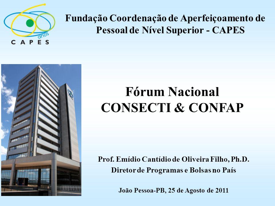 Fórum Nacional CONSECTI & CONFAP Fundação Coordenação de Aperfeiçoamento de Pessoal de Nível Superior - CAPES Prof. Emídio Cantídio de Oliveira Filho,
