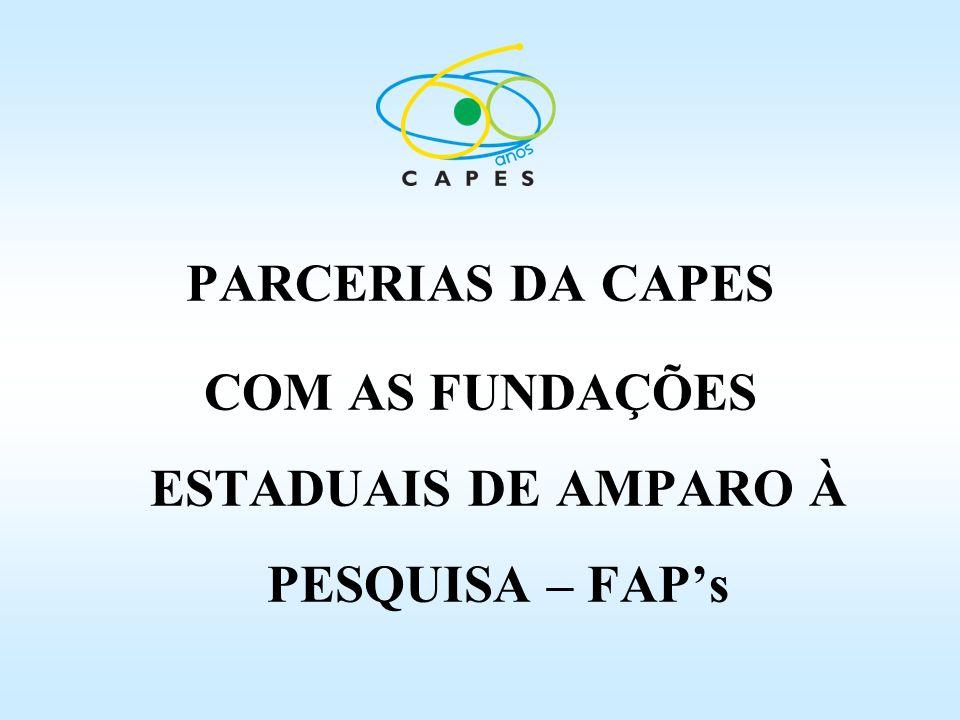 PARCERIAS DA CAPES COM AS FUNDAÇÕES ESTADUAIS DE AMPARO À PESQUISA – FAPs